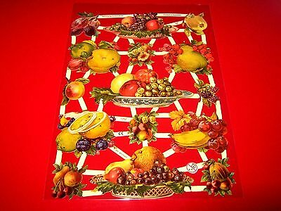 Vintage Style Die Cut  Paper Scraps Summer Fruits Platters  New