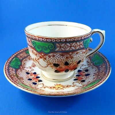 Handpainted Floral with Green Accents Salisbury Tea Cup & Saucer (Some Crazing)