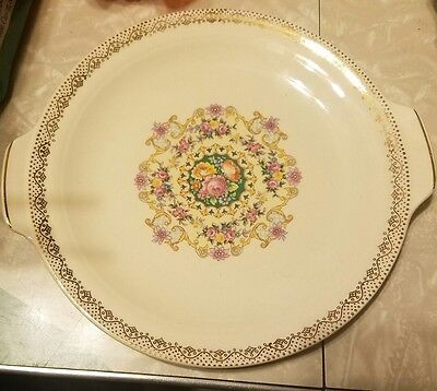 """SEBRING HAND DECORATED 22K GOLD IVORY PORCELAIN MELODY PLATES w/HANDLES 8"""""""