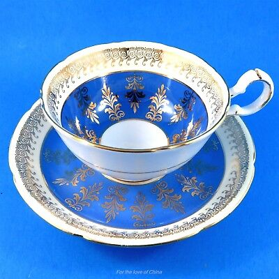 Electric Blue and Gold Royal Grafton Tea Cup and Saucer Set
