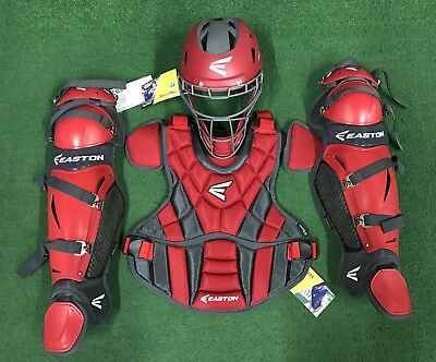 Easton Prowess Women's Adult Fastpitch Softball Catcher's Gear Set - Red Grey