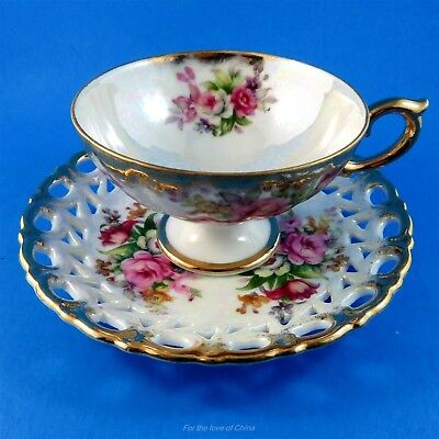 Reticulated Floral Bouquet Pedestal Shafford Tea Cup and Saucer Set