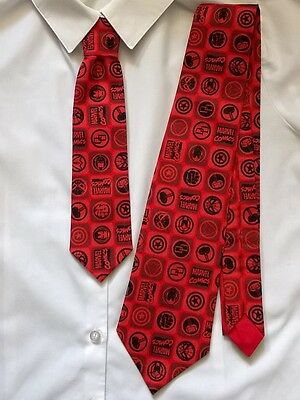 Red Marvel Comics Mens/Boys Father/Son Ties Set - 1 Adult size, 1 Child size