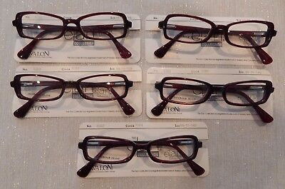 3e724ba2fb3 5 Pc. Elan 9252 Ruby 50 18 Plastic Eyeglass Frame Lot New Old Stock
