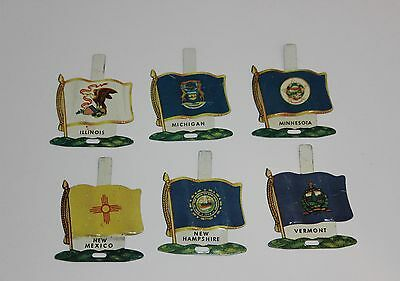 Vintage LOT of 6 NABISCO TIN STATE FLAGS Free Shipping