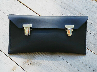 Genuine black vintage / old school leather pencil case with double tuck lock