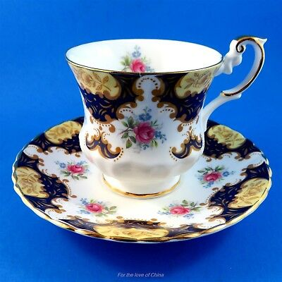 Cobalt Edge with Roses and Forget Me Nots Rosina Tea Cup and Saucer Set