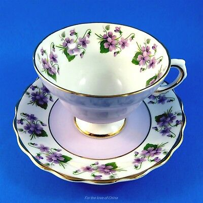 Pedestal with Purple Exterior and Violets Rosina Tea Cup and Saucer Set