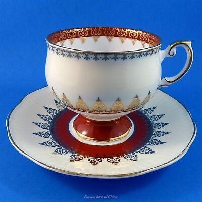 Deep Red and Beige Pedestal Rosina Tea Cup and Saucer Set