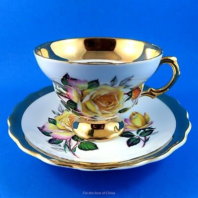 Thick Gold Border with Pretty Yellow Rose Pedestal Rosina Tea Cup and Saucer