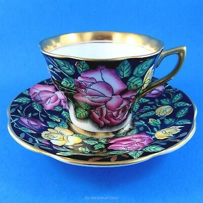 Stunning Handpainted Pink & Yellow Roses on Black Rosina Tea Cup and Saucer Set