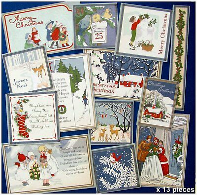 CHRISTMAS WONDERLAND TRADITIONAL ASSORTED CARD TOPPERS x 13 VARIOUS SIZES