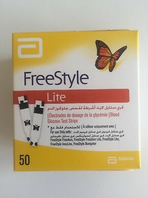 Freestyle Lite Blood Glucose Test Strips 50
