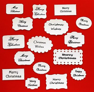 Merry Christmas Die Cuts X 16 Assorted Shapes And Sizes With Various Edges