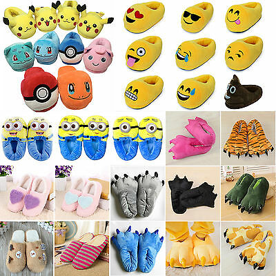 Emoji Pokemon Plush Stuffed Adult Kid Home Slippers Soft Indoor Slipper Shoes