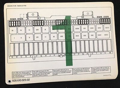 Porsche Factory Genuine Original 928 Fuse Box & Relay Diagram Chart NOS