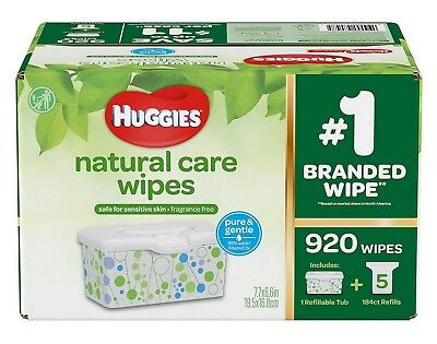 Huggies Natural Care Baby Wipes 920 ct. Tub & 5 Refills Fragrance & Alcohol Free