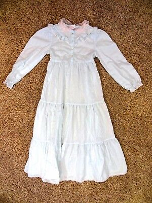 Vintage CINDERELLA BRAND Girls Size 6 USA Made LACE Accent BABY BLUE Maxi DRESS