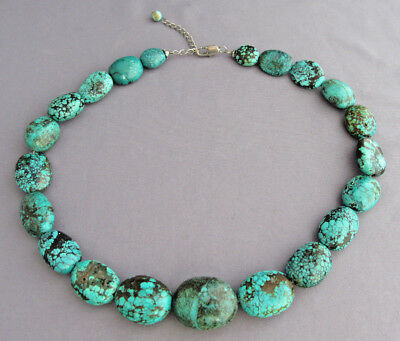 VINTAGE CHUNKY OLD PAWN SPIDERWEB NUMBER 8 TURQUOISE BEAD STONE NECKLACE 97g
