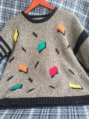 Kitty Hawk Vintage 80's 90's Sweater Small  Brown With Flecks And Geometrics