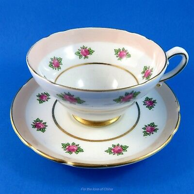 Pretty Pink Roses with Peach Border Stanley Tea Cup and Saucer Set