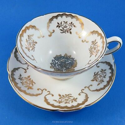 Pretty Gold Motif on White Stanley Tea Cup and Saucer Set