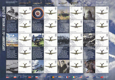 GB 2010 70th Anniversary of the Battle of Britain stamp Smilers sheet used LS74