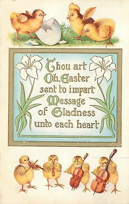 Fantasy Easter~Chick Band Plays~Bass~Cello~Horn~Violin~Lilies~Gold Emboss~1908