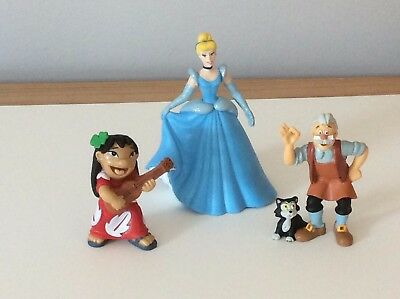 BULLYLAND Disney Characters x 3 - Cinderella, Geppetto and Lilo