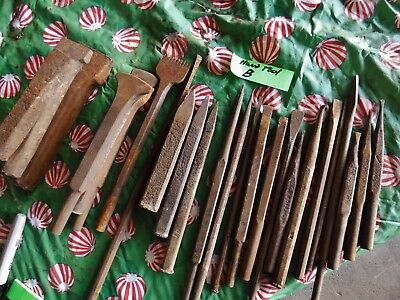 B Lot Antique Stone Masons Engraving CHISELS Sculptor Hand Tools