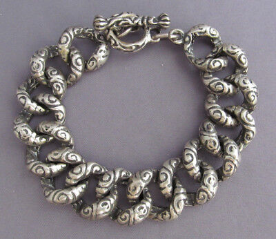 Vintage Mexico Taxco Sterling Twist Wave Weave Rope Curb Link Cable Bracelet