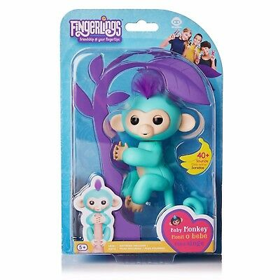 Fingerlings Interactive Baby Monkey  Zoe Turquoise with Purple Hair Toys 2017
