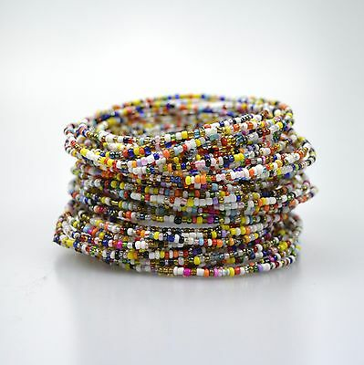 African Masai Multi Colourful Beaded Bracelets, Tribal Ethnic Holiday Jewellery