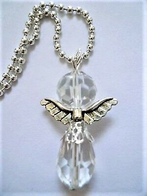 Beautiful Clear Crystal Guardian Angel Protection Charm - Rear View Car Mirror