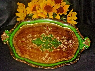 Vintage Gold Gilt Green Italy Florentine Vanity Handle Tray FREE SHIPPING