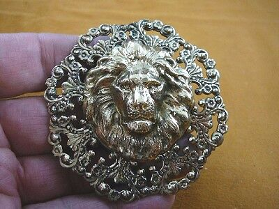 (B-lion-365) 3-D LION HEAD king wild cat big lions scrolled brass pin pendant