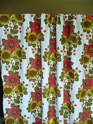 Vintage Mid Century Fabric Curtain Single Panel Linen Cotton Red Floral 57 x 62