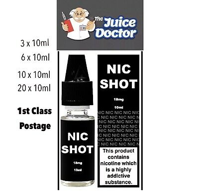 10ml Nicotine shots  VG or PG 18mg 1.8% DIY E Liquids vaping vape