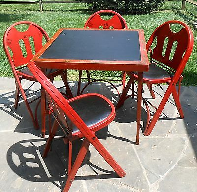 Antique Louis Rastetter & Sons SOLID KUMFORT Red FOLDING CARD or GAME TABLE & 4