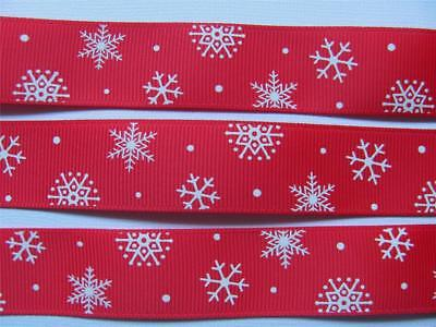 "BB Ribbon WHITE FROSTY SNOWFLAKES ON RED  1m grosgrain 7/8"" 22mm christmas"
