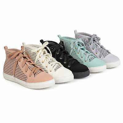868a14347fb68 BRINLEY CO WOMENS Faux Leather High top Lace up Laser cut Sneakers New