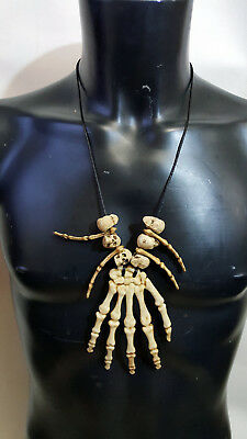 Halloween Skull Skeleton Hand Bone Necklace ZULU Voodoo Caveman Fancy Dress