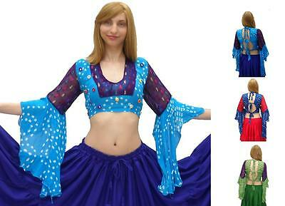 Renaissance Belly Dance Costume Pirate Gypsy Tribal Ats Tie Back Choli Crop Top