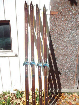 2 pairs VINTAGE HICKORY Wooden Skis CROSS COUNTRY   TRYSIL-KNUT  Norway