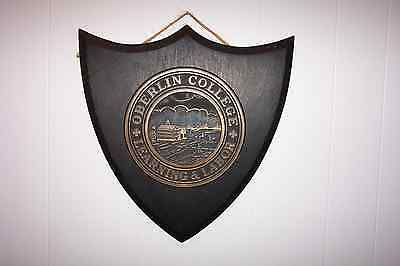 RARE BRASS ANTIQUE OBERLIN COLLEGE SEAL ON WOOD (1852 to 1911)