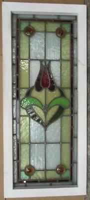 "LARGE OLD ENGLISH LEADED STAINED GLASS WINDOW Gorgeous Floral 39.25"" x 17.5"""