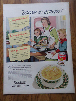 1950 Campbell's Soup Ad Family Theme  Lunch is Served