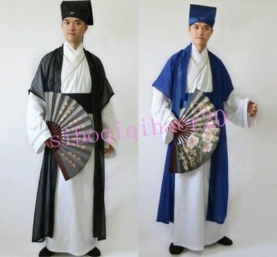 Vintage Chinese Mens Scholar Clothing Tang Dynasty Hanfu Performance Costume 3XL