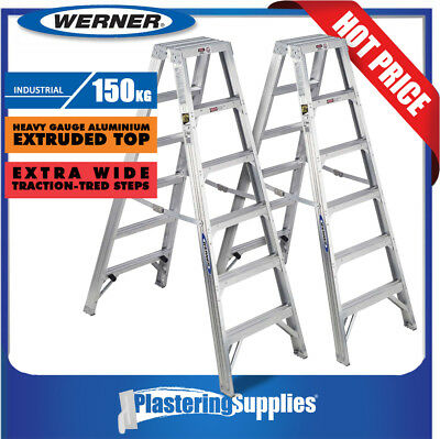 Werner Ladder x2 Double Sided 1.8m 6-Step 150kg Aluminium Heavy Duty Industrial