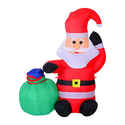 HOMCOM Inflatable Christmas Santa Claus 120cm LED Lighted Yard Holiday Decor